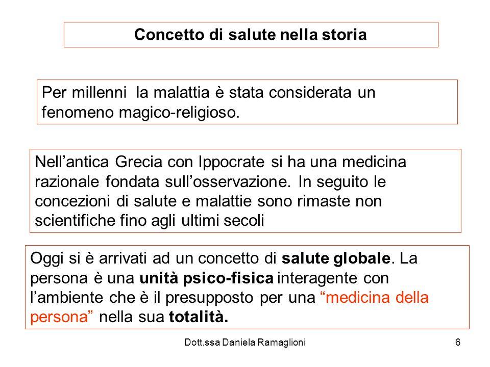 Dott.ssa Daniela Ramaglioni6 Concetto di salute nella storia Per millenni la malattia è stata considerata un fenomeno magico-religioso. Nellantica Gre
