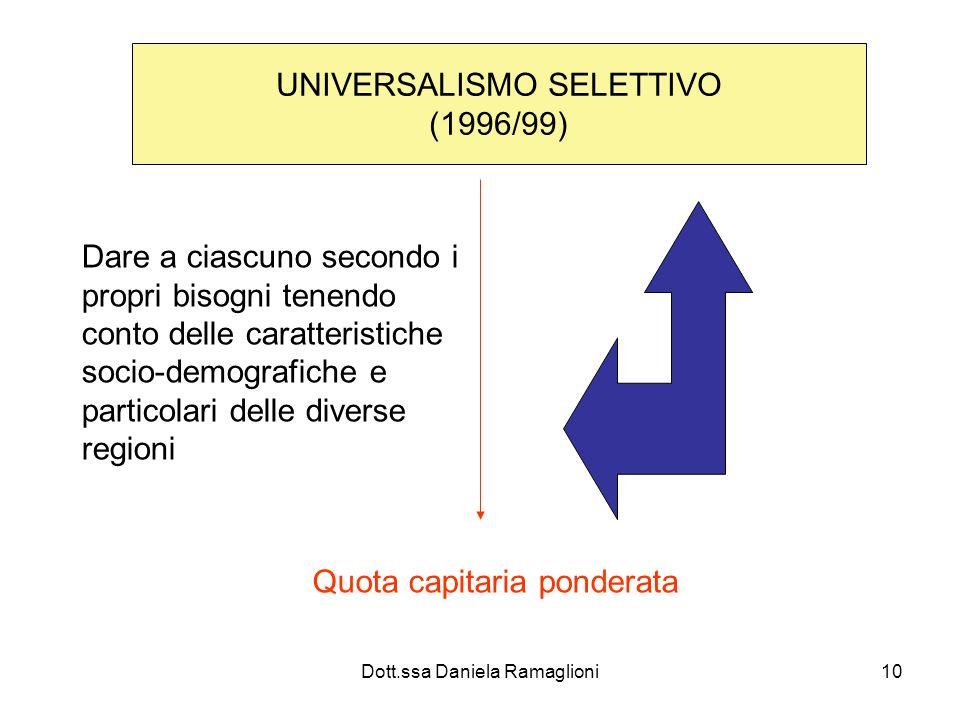 Dott.ssa Daniela Ramaglioni10 UNIVERSALISMO SELETTIVO (1996/99) Dare a ciascuno secondo i propri bisogni tenendo conto delle caratteristiche socio-dem