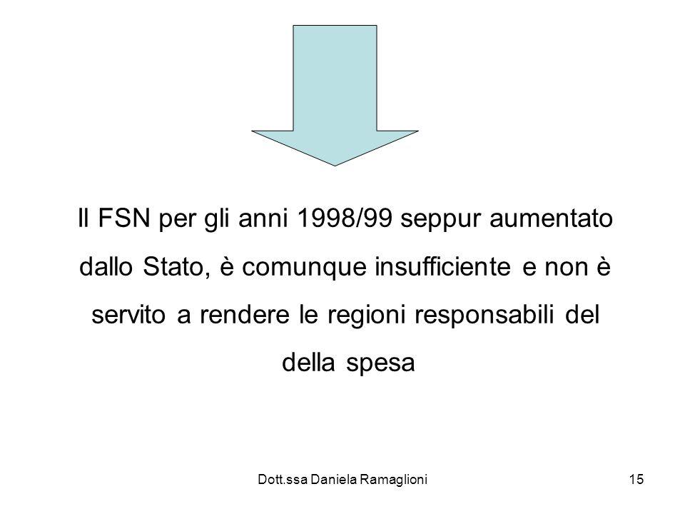 Dott.ssa Daniela Ramaglioni15 Il FSN per gli anni 1998/99 seppur aumentato dallo Stato, è comunque insufficiente e non è servito a rendere le regioni