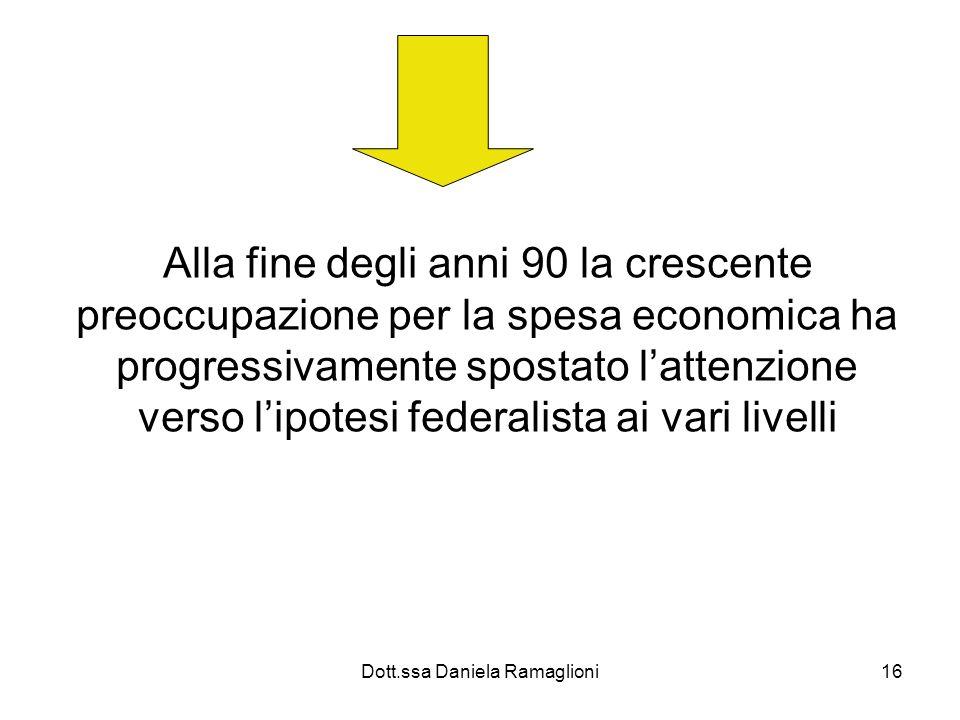 Dott.ssa Daniela Ramaglioni16 Alla fine degli anni 90 la crescente preoccupazione per la spesa economica ha progressivamente spostato lattenzione vers