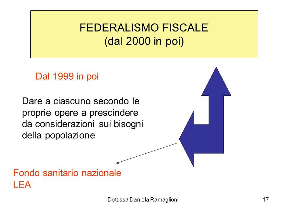 Dott.ssa Daniela Ramaglioni17 FEDERALISMO FISCALE (dal 2000 in poi) Dal 1999 in poi Dare a ciascuno secondo le proprie opere a prescindere da consider