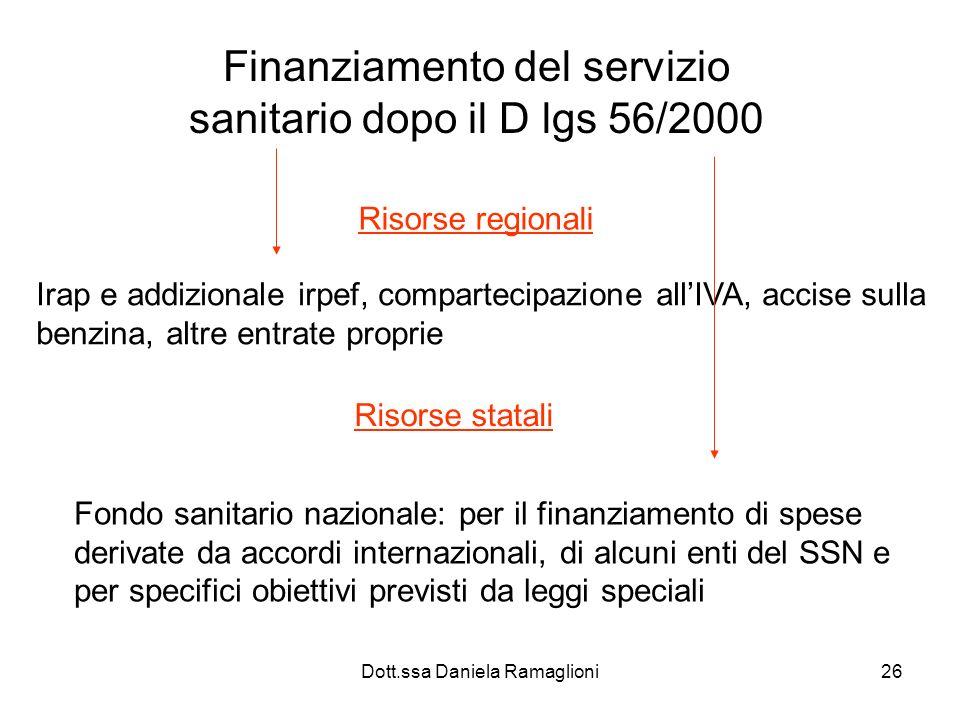 Dott.ssa Daniela Ramaglioni26 Finanziamento del servizio sanitario dopo il D lgs 56/2000 Risorse regionali Irap e addizionale irpef, compartecipazione