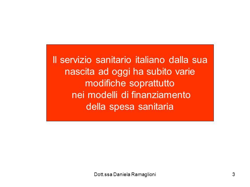 Dott.ssa Daniela Ramaglioni3 Il servizio sanitario italiano dalla sua nascita ad oggi ha subito varie modifiche soprattutto nei modelli di finanziamen