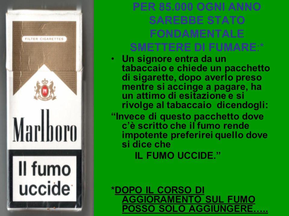 PER 85.000 OGNI ANNO SAREBBE STATO FONDAMENTALE SMETTERE DI FUMARE:* Un signore entra da un tabaccaio e chiede un pacchetto di sigarette, dopo averlo