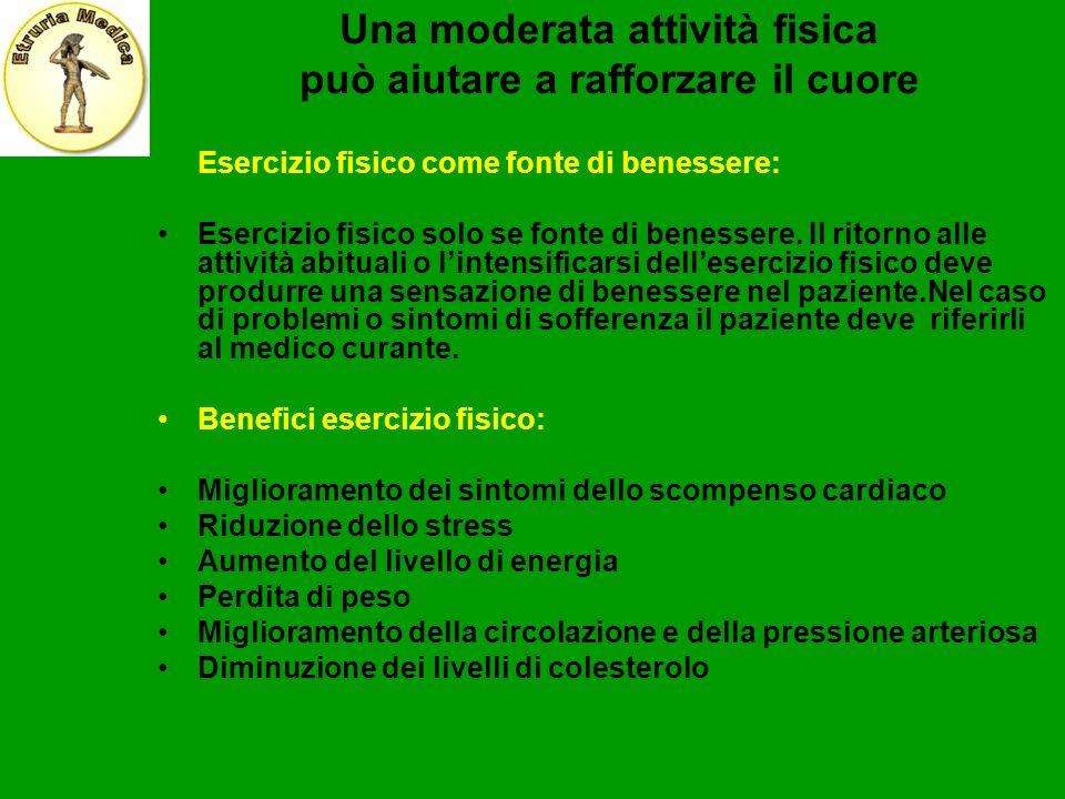 Una moderata attività fisica può aiutare a rafforzare il cuore Esercizio fisico come fonte di benessere: Esercizio fisico solo se fonte di benessere.