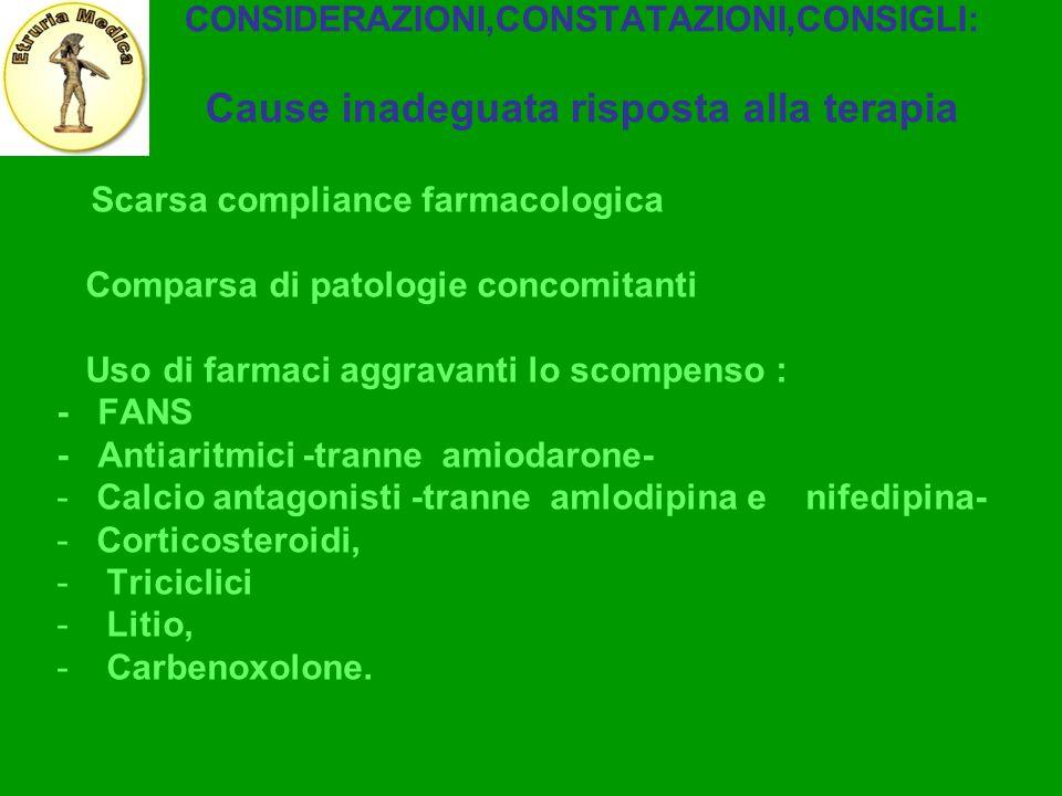 CONSIDERAZIONI,CONSTATAZIONI,CONSIGLI: Cause inadeguata risposta alla terapia Scarsa compliance farmacologica Comparsa di patologie concomitanti Uso d