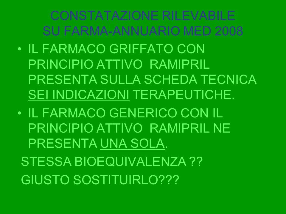 CONSTATAZIONE RILEVABILE SU FARMA-ANNUARIO MED 2008 IL FARMACO GRIFFATO CON PRINCIPIO ATTIVO RAMIPRIL PRESENTA SULLA SCHEDA TECNICA SEI INDICAZIONI TE