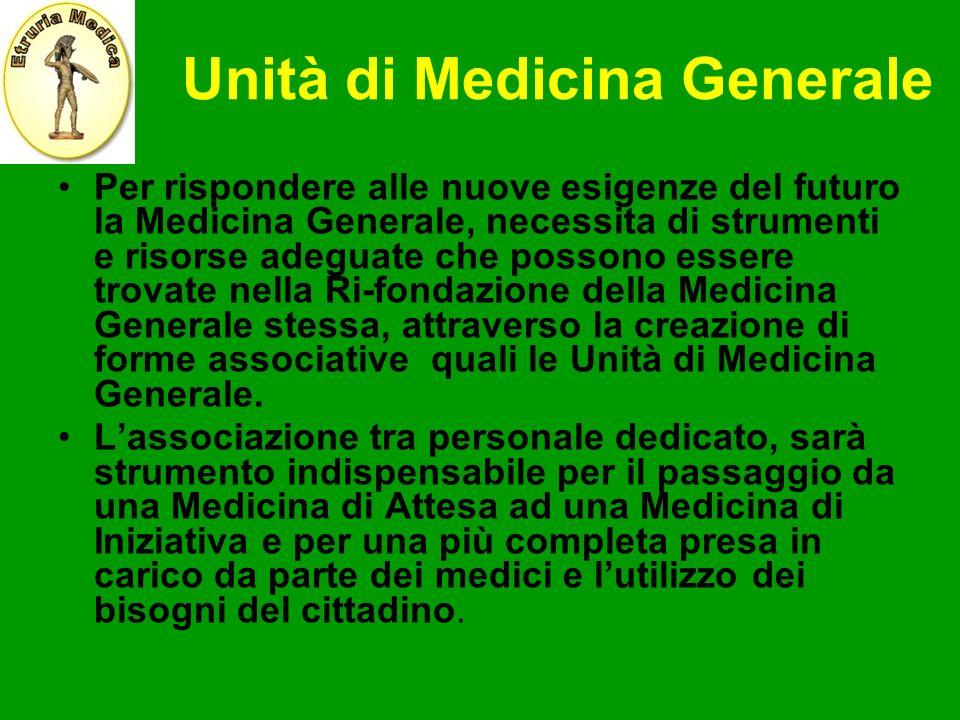 Unità di Medicina Generale Per rispondere alle nuove esigenze del futuro la Medicina Generale, necessita di strumenti e risorse adeguate che possono e