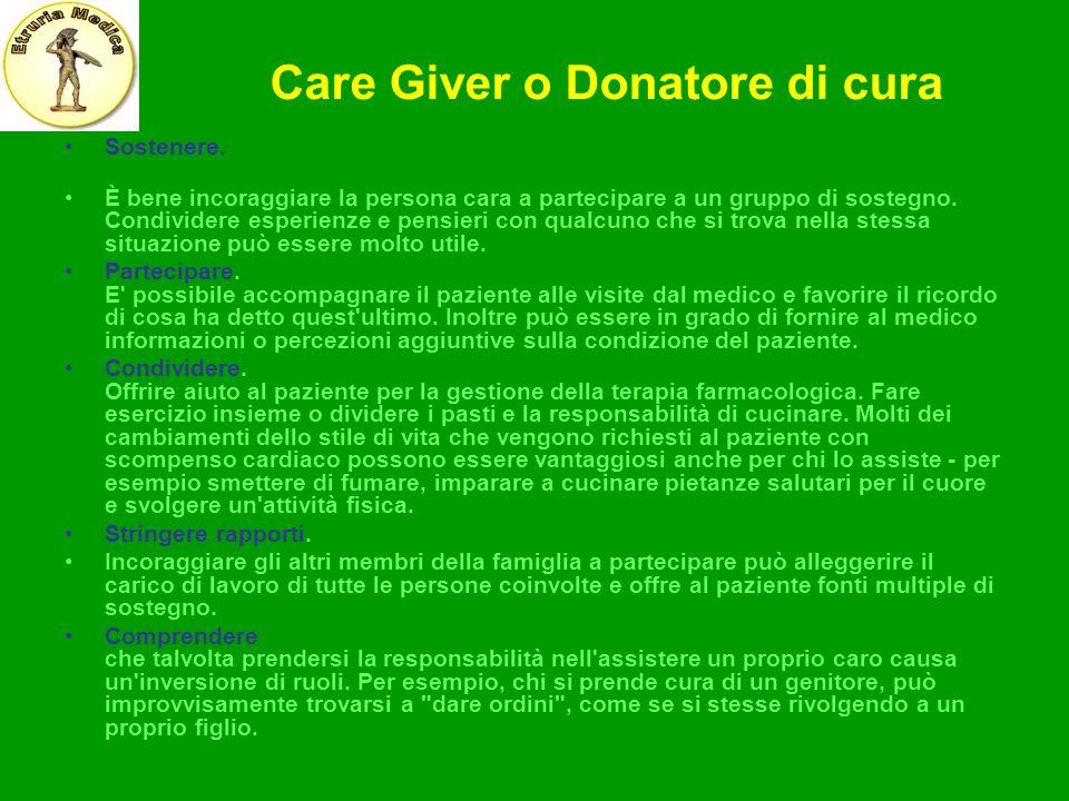 Care Giver o Donatore di cura Sostenere. È bene incoraggiare la persona cara a partecipare a un gruppo di sostegno. Condividere esperienze e pensieri