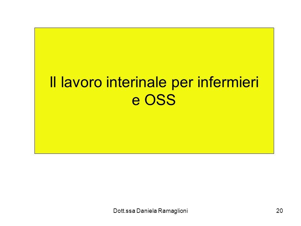 Dott.ssa Daniela Ramaglioni20 Il lavoro interinale per infermieri e OSS