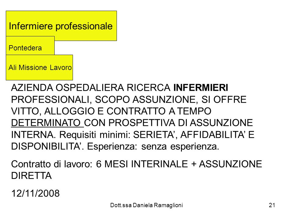 Dott.ssa Daniela Ramaglioni21 Infermiere professionale Pontedera Ali Missione Lavoro AZIENDA OSPEDALIERA RICERCA INFERMIERI PROFESSIONALI, SCOPO ASSUN