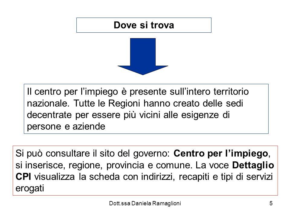 Dott.ssa Daniela Ramaglioni5 Dove si trova Il centro per limpiego è presente sullintero territorio nazionale. Tutte le Regioni hanno creato delle sedi