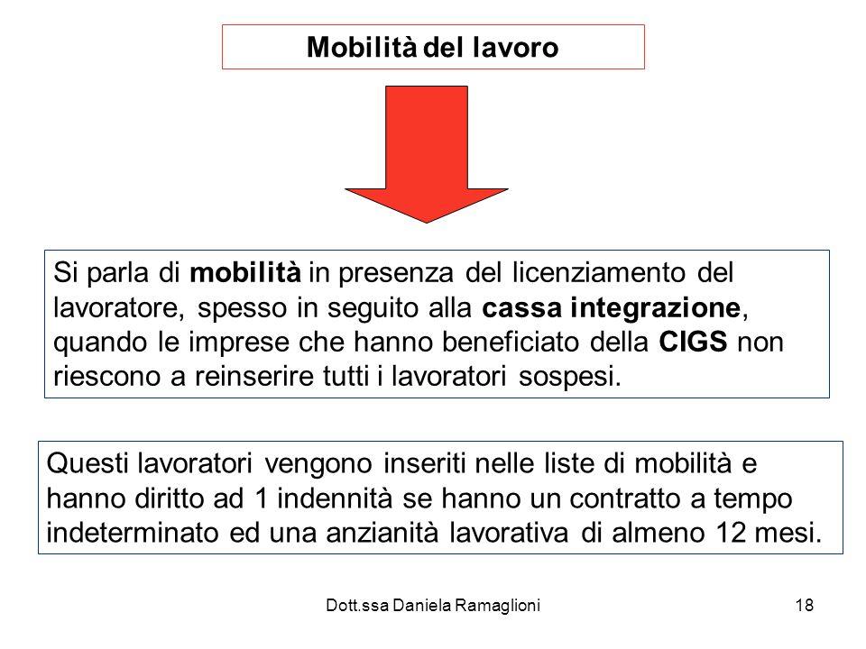 Dott.ssa Daniela Ramaglioni18 Mobilità del lavoro Si parla di mobilità in presenza del licenziamento del lavoratore, spesso in seguito alla cassa integrazione, quando le imprese che hanno beneficiato della CIGS non riescono a reinserire tutti i lavoratori sospesi.