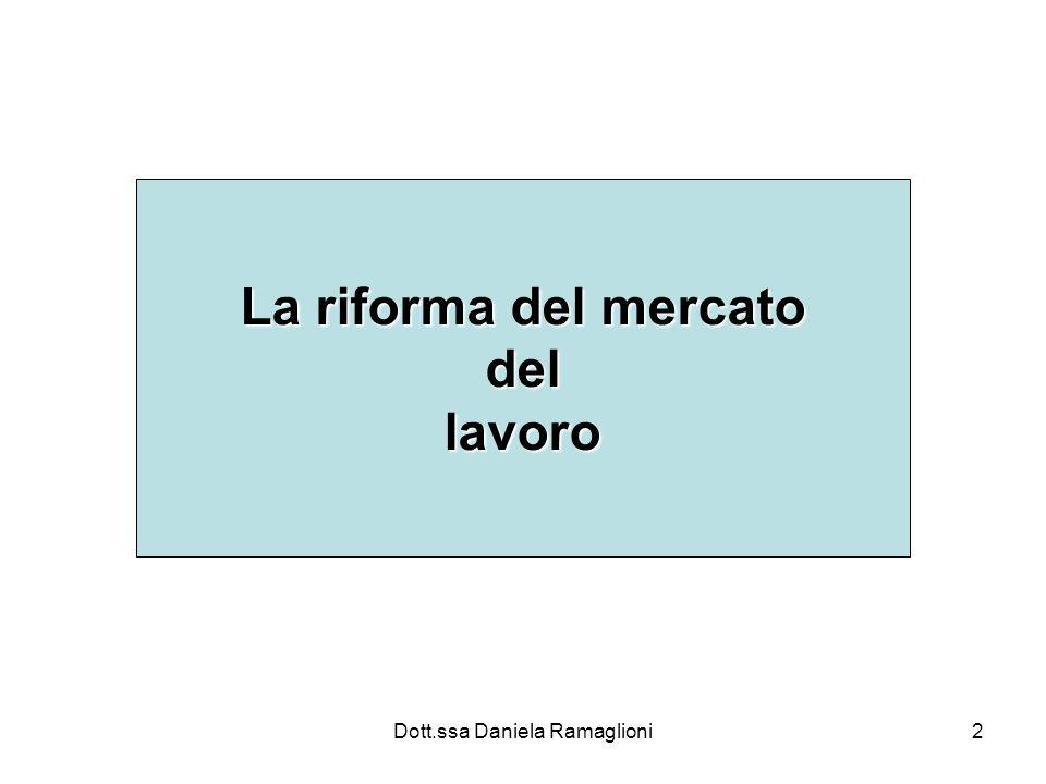 Dott.ssa Daniela Ramaglioni2 La riforma del mercato dellavoro
