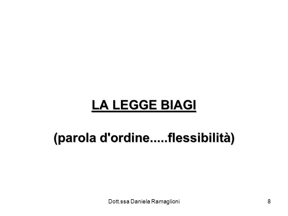 Dott.ssa Daniela Ramaglioni8 LA LEGGE BIAGI (parola d ordine.....flessibilità)