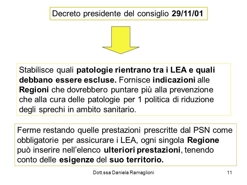 Dott.ssa Daniela Ramaglioni11 Decreto presidente del consiglio 29/11/01 Stabilisce quali patologie rientrano tra i LEA e quali debbano essere escluse.