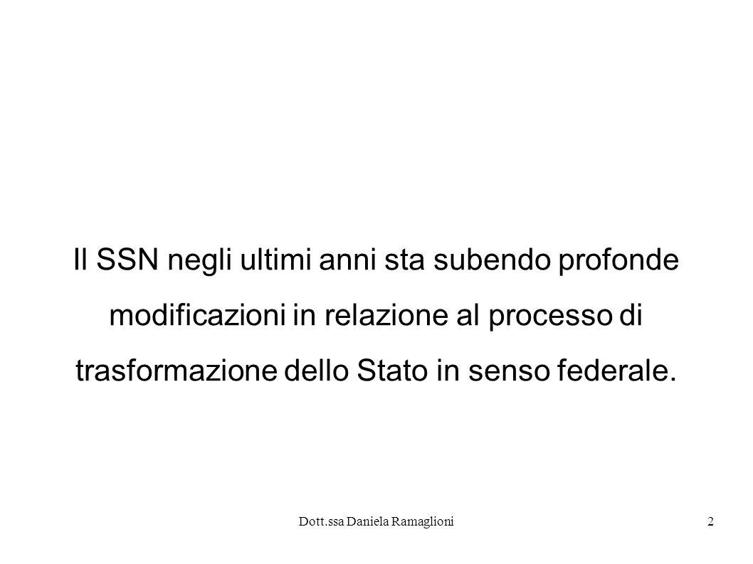 Dott.ssa Daniela Ramaglioni3 Legge Costituzionale n.3/2001 Nel corso del 2001 è stato modificato il titolo quinto della parte seconda della Costituzione italiana (la parte dedicata a comuni, province e regioni)