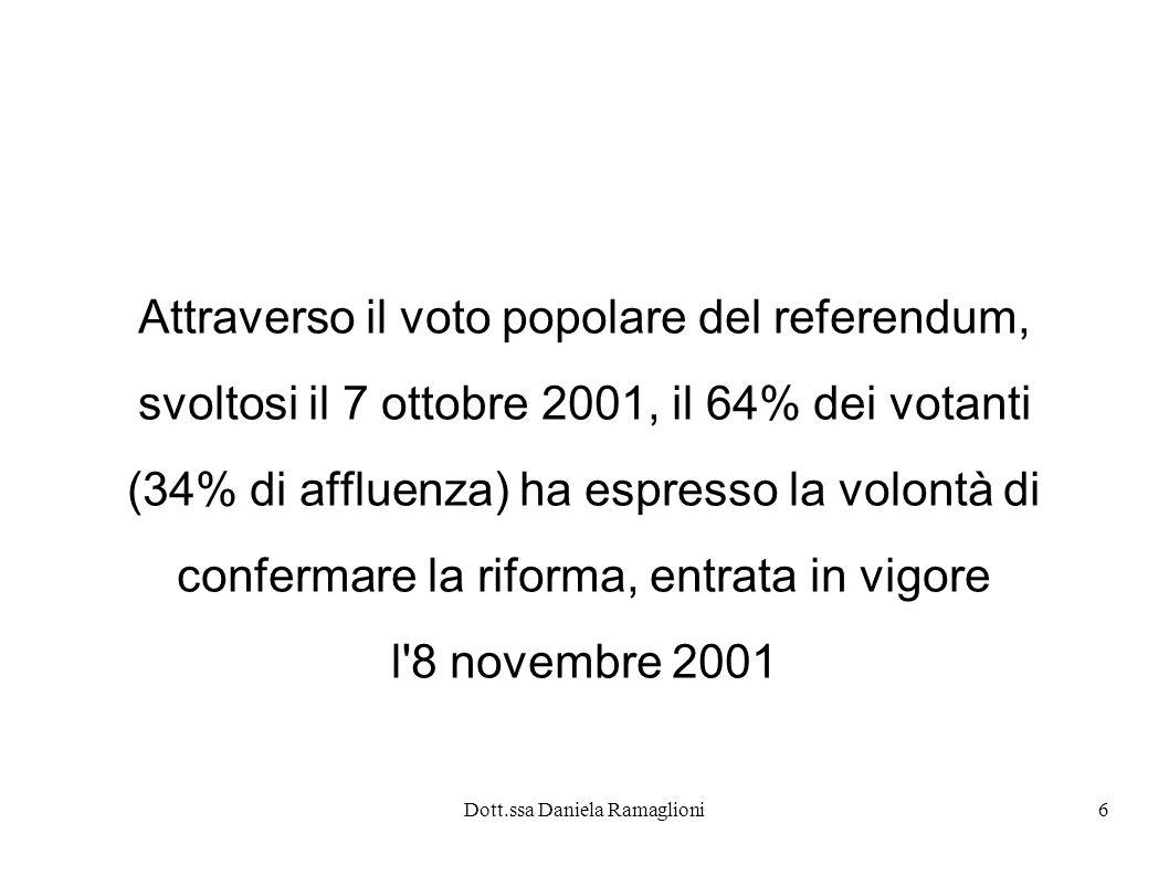 Dott.ssa Daniela Ramaglioni6 Attraverso il voto popolare del referendum, svoltosi il 7 ottobre 2001, il 64% dei votanti (34% di affluenza) ha espresso