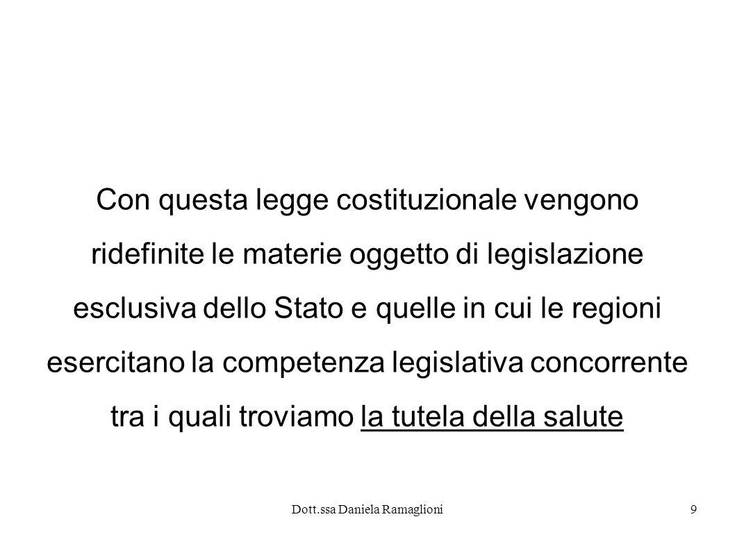 Dott.ssa Daniela Ramaglioni9 Con questa legge costituzionale vengono ridefinite le materie oggetto di legislazione esclusiva dello Stato e quelle in c