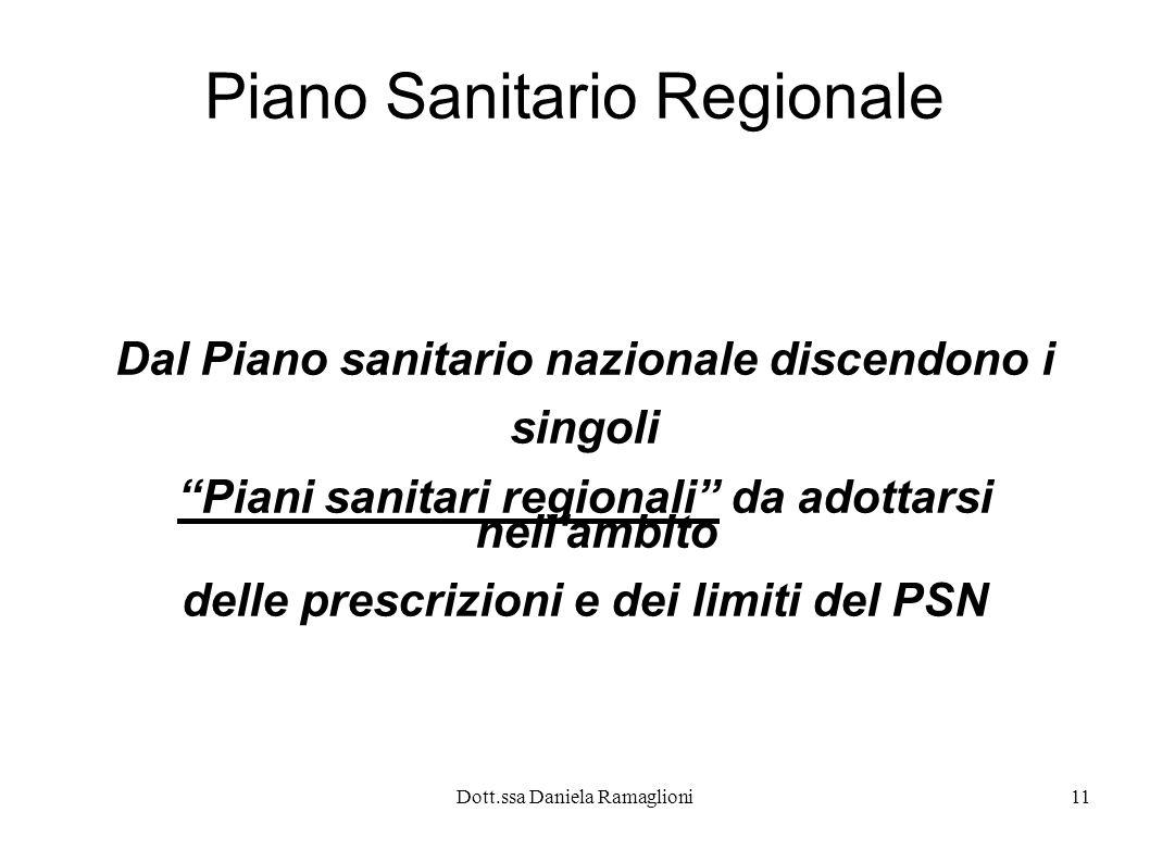 Dott.ssa Daniela Ramaglioni11 Piano Sanitario Regionale Dal Piano sanitario nazionale discendono i singoli Piani sanitari regionali da adottarsi nell'