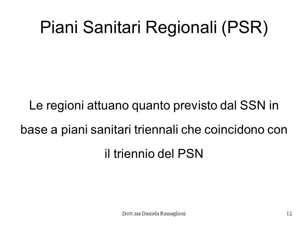 Dott.ssa Daniela Ramaglioni12 Piani Sanitari Regionali (PSR) Le regioni attuano quanto previsto dal SSN in base a piani sanitari triennali che coincid