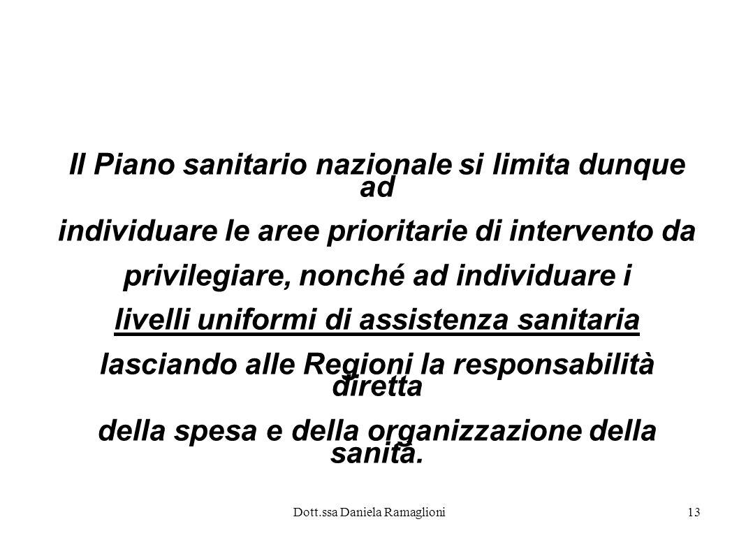 Dott.ssa Daniela Ramaglioni13 Il Piano sanitario nazionale si limita dunque ad individuare le aree prioritarie di intervento da privilegiare, nonché a