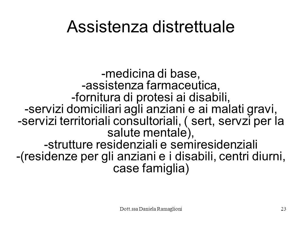Dott.ssa Daniela Ramaglioni23 Assistenza distrettuale -medicina di base, -assistenza farmaceutica, -fornitura di protesi ai disabili, -servizi domicil