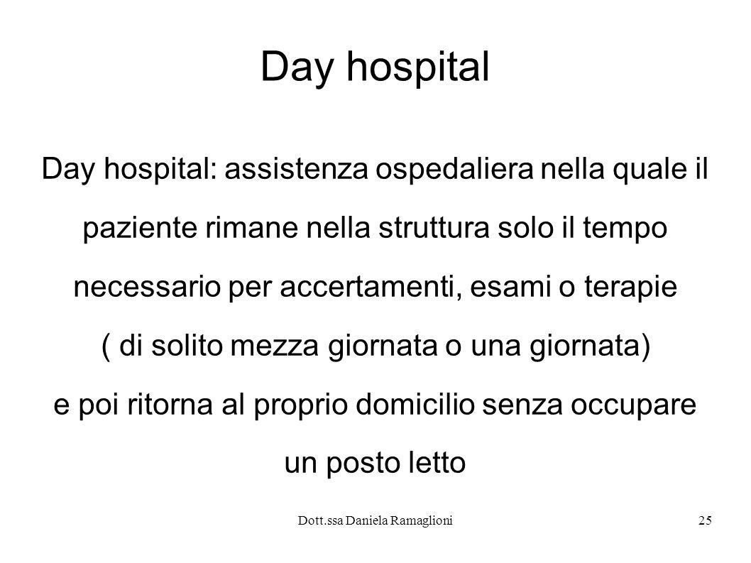 Dott.ssa Daniela Ramaglioni25 Day hospital Day hospital: assistenza ospedaliera nella quale il paziente rimane nella struttura solo il tempo necessari