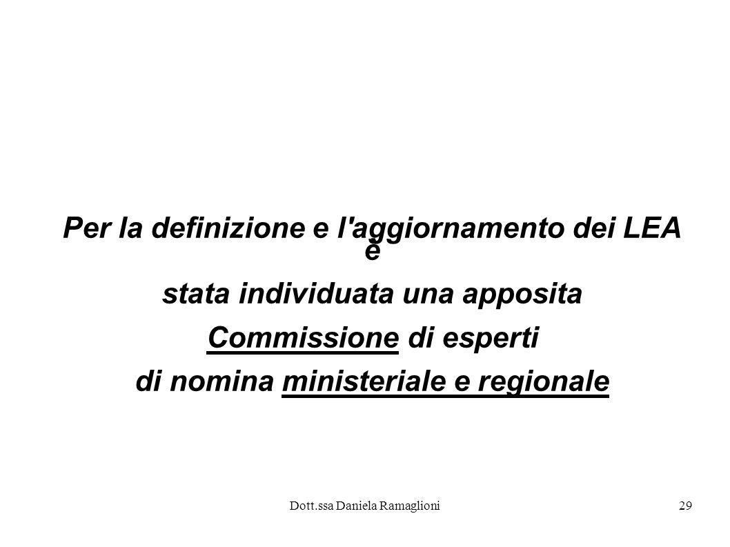 Dott.ssa Daniela Ramaglioni29 Per la definizione e l'aggiornamento dei LEA è stata individuata una apposita Commissione di esperti di nomina ministeri