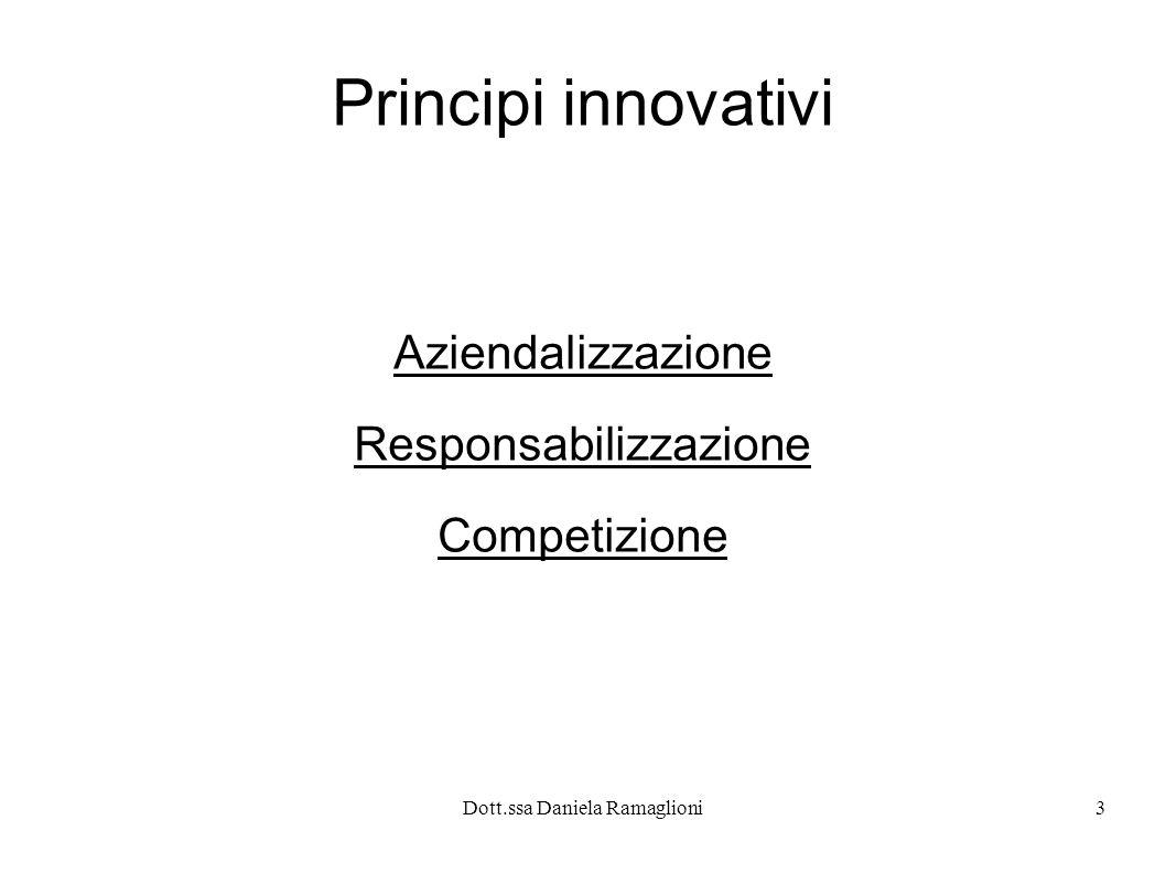Dott.ssa Daniela Ramaglioni3 Principi innovativi Aziendalizzazione Responsabilizzazione Competizione