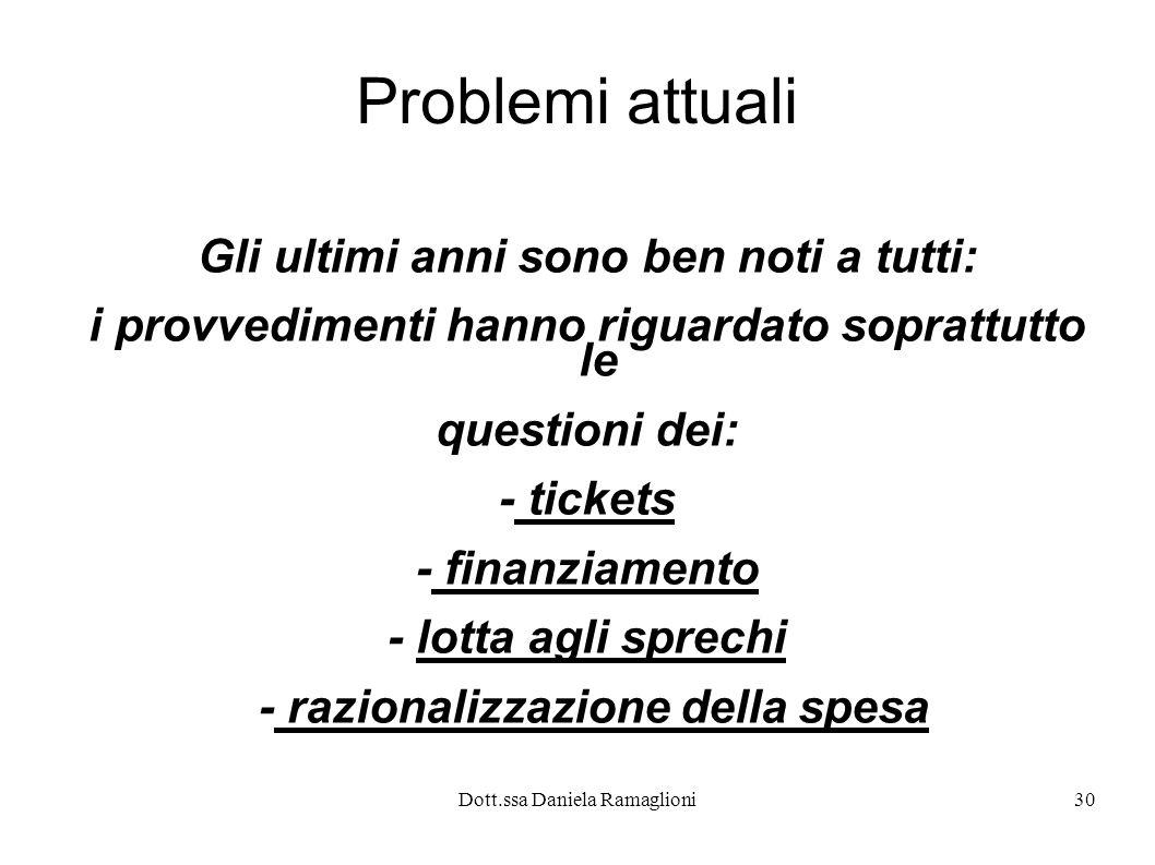 Dott.ssa Daniela Ramaglioni30 Problemi attuali Gli ultimi anni sono ben noti a tutti: i provvedimenti hanno riguardato soprattutto le questioni dei: -
