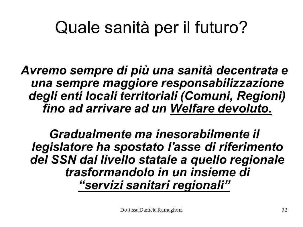 Dott.ssa Daniela Ramaglioni32 Quale sanità per il futuro? Avremo sempre di più una sanità decentrata e una sempre maggiore responsabilizzazione degli