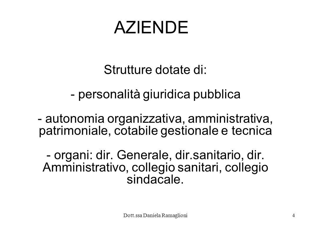 Dott.ssa Daniela Ramaglioni4 AZIENDE Strutture dotate di: - personalità giuridica pubblica - autonomia organizzativa, amministrativa, patrimoniale, co