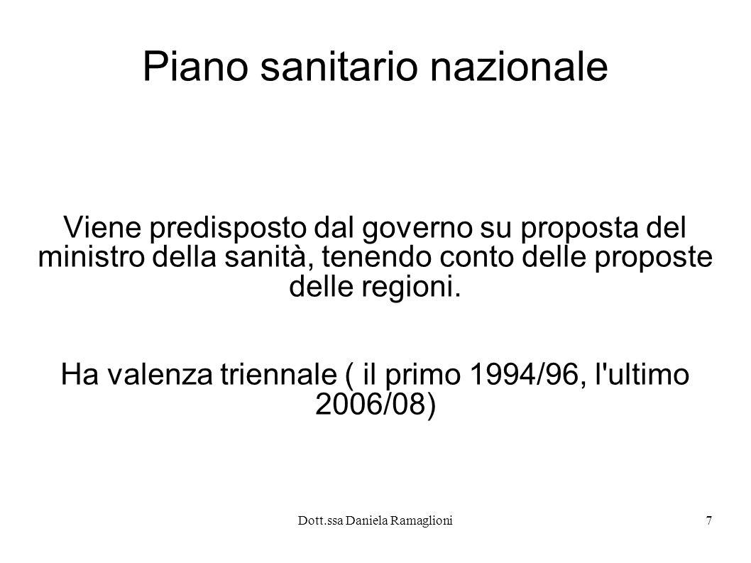 Dott.ssa Daniela Ramaglioni7 Piano sanitario nazionale Viene predisposto dal governo su proposta del ministro della sanità, tenendo conto delle propos