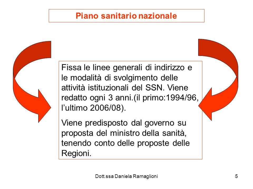Dott.ssa Daniela Ramaglioni6 Il PSN analizza alla luce delle esperienze trascorse, gli scenari possibili per i prossimi 3 anni e individua le strategie e le scelte da fare.