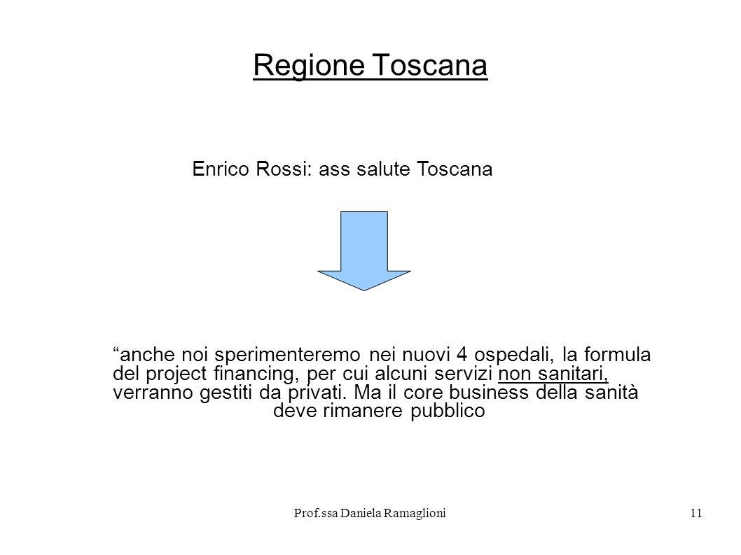 Prof.ssa Daniela Ramaglioni11 Regione Toscana Enrico Rossi: ass salute Toscana anche noi sperimenteremo nei nuovi 4 ospedali, la formula del project f