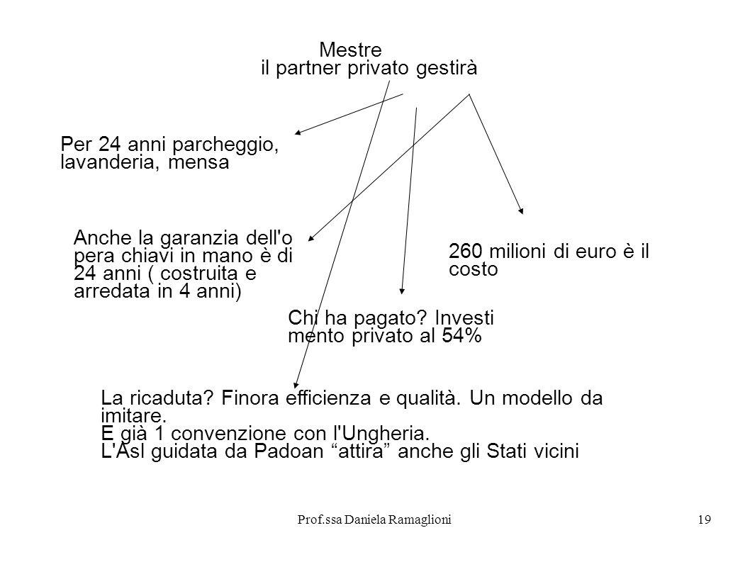 Prof.ssa Daniela Ramaglioni19 Mestre il partner privato gestirà Per 24 anni parcheggio, lavanderia, mensa Anche la garanzia dell'o pera chiavi in mano