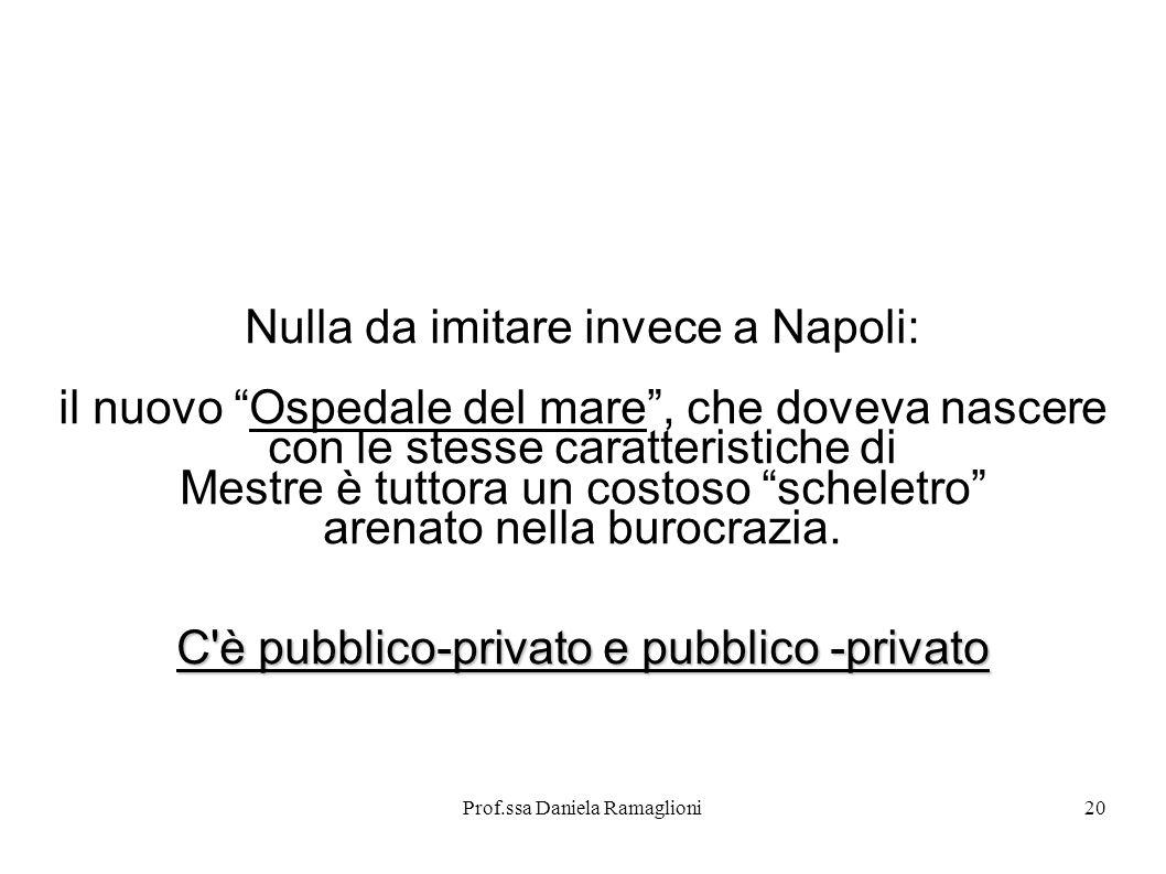 Prof.ssa Daniela Ramaglioni20 Nulla da imitare invece a Napoli: il nuovo Ospedale del mare, che doveva nascere con le stesse caratteristiche di Mestre