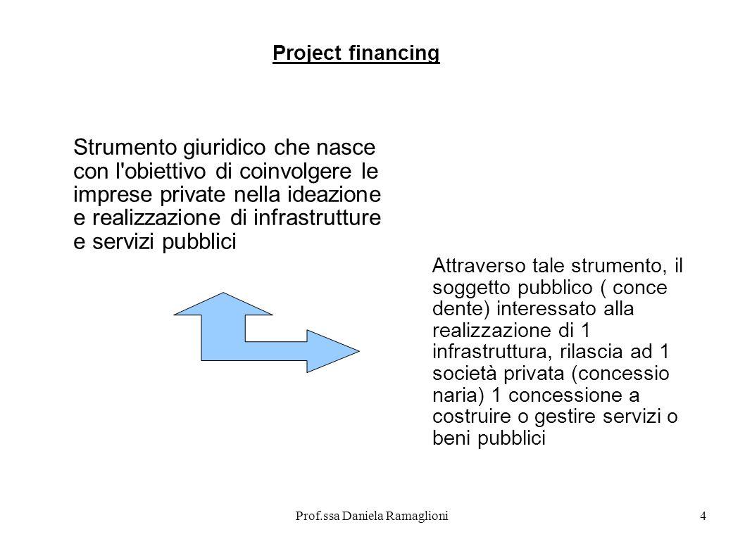 Prof.ssa Daniela Ramaglioni4 Strumento giuridico che nasce con l'obiettivo di coinvolgere le imprese private nella ideazione e realizzazione di infras