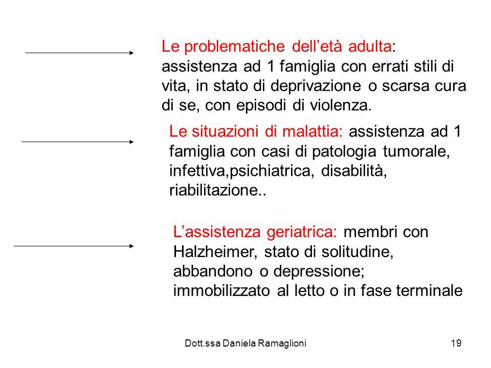 Dott.ssa Daniela Ramaglioni19 Le problematiche delletà adulta: assistenza ad 1 famiglia con errati stili di vita, in stato di deprivazione o scarsa cu