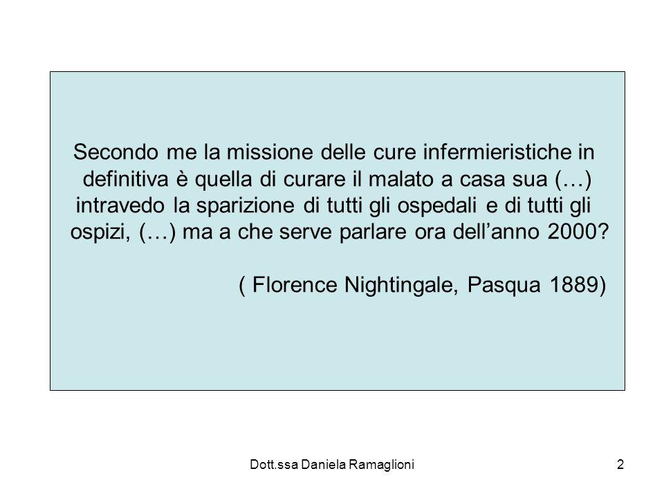 Dott.ssa Daniela Ramaglioni13 Famiglia e comunità Infermiere di famiglia: non solo per la famiglia ma anche per le comunità Oppure per un gruppo predefinito di famiglie, promuovendo e proteggendo, così, la salute della popolazione, lungo tutto larco della vita.