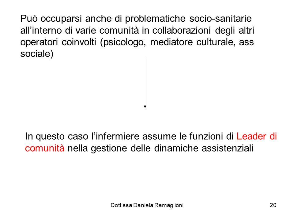 Dott.ssa Daniela Ramaglioni20 Può occuparsi anche di problematiche socio-sanitarie allinterno di varie comunità in collaborazioni degli altri operator