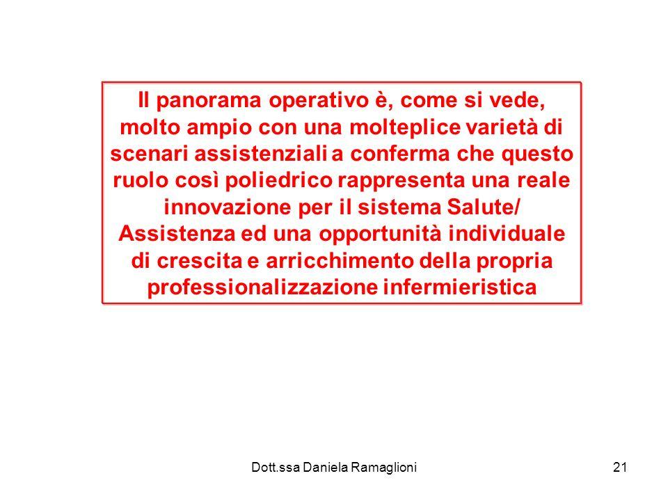 Dott.ssa Daniela Ramaglioni21 Il panorama operativo è, come si vede, molto ampio con una molteplice varietà di scenari assistenziali a conferma che qu