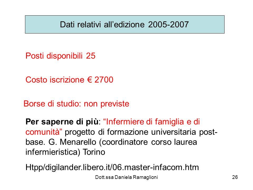 Dott.ssa Daniela Ramaglioni26 Dati relativi alledizione 2005-2007 Posti disponibili 25 Costo iscrizione 2700 Borse di studio: non previste Per saperne