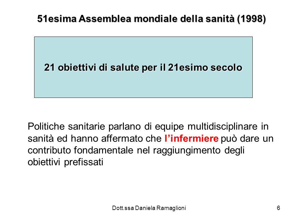 Dott.ssa Daniela Ramaglioni6 21 obiettivi di salute per il 21esimo secolo 51esima Assemblea mondiale della sanità (1998) Politiche sanitarie parlano d