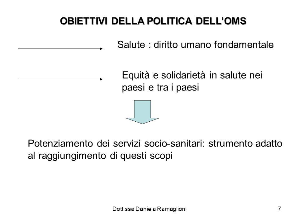 Dott.ssa Daniela Ramaglioni7 OBIETTIVI DELLA POLITICA DELLOMS Salute : diritto umano fondamentale Equità e solidarietà in salute nei paesi e tra i pae