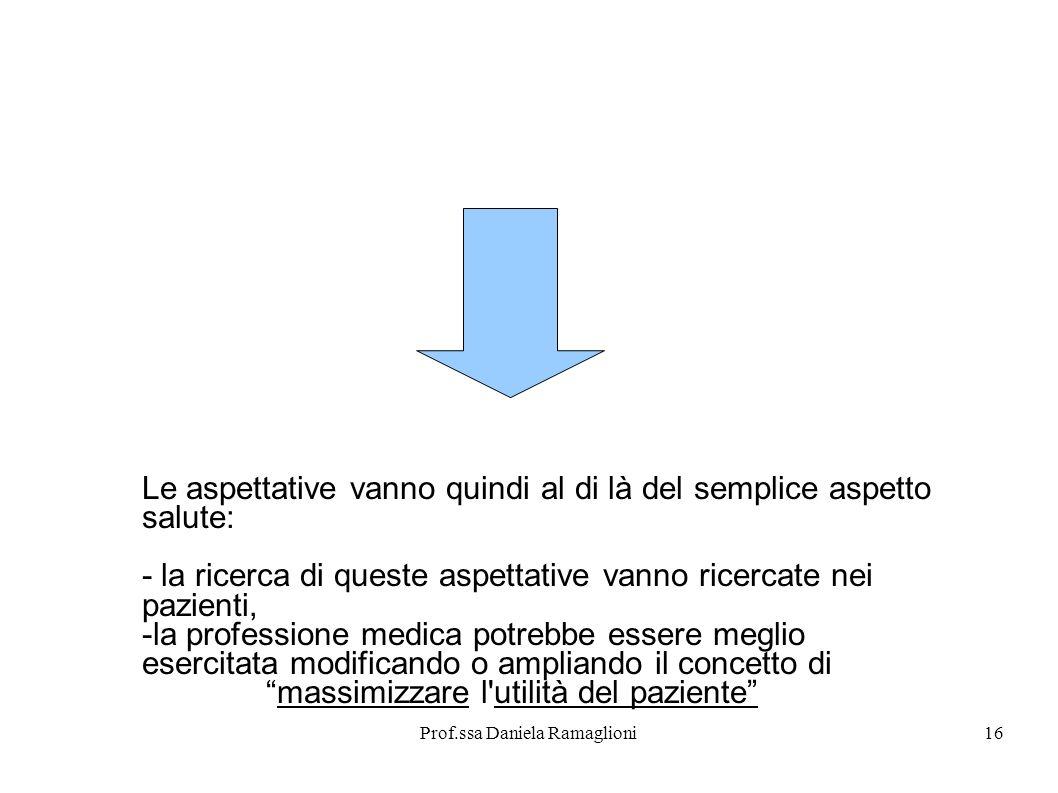 Prof.ssa Daniela Ramaglioni16 Le aspettative vanno quindi al di là del semplice aspetto salute: - la ricerca di queste aspettative vanno ricercate nei