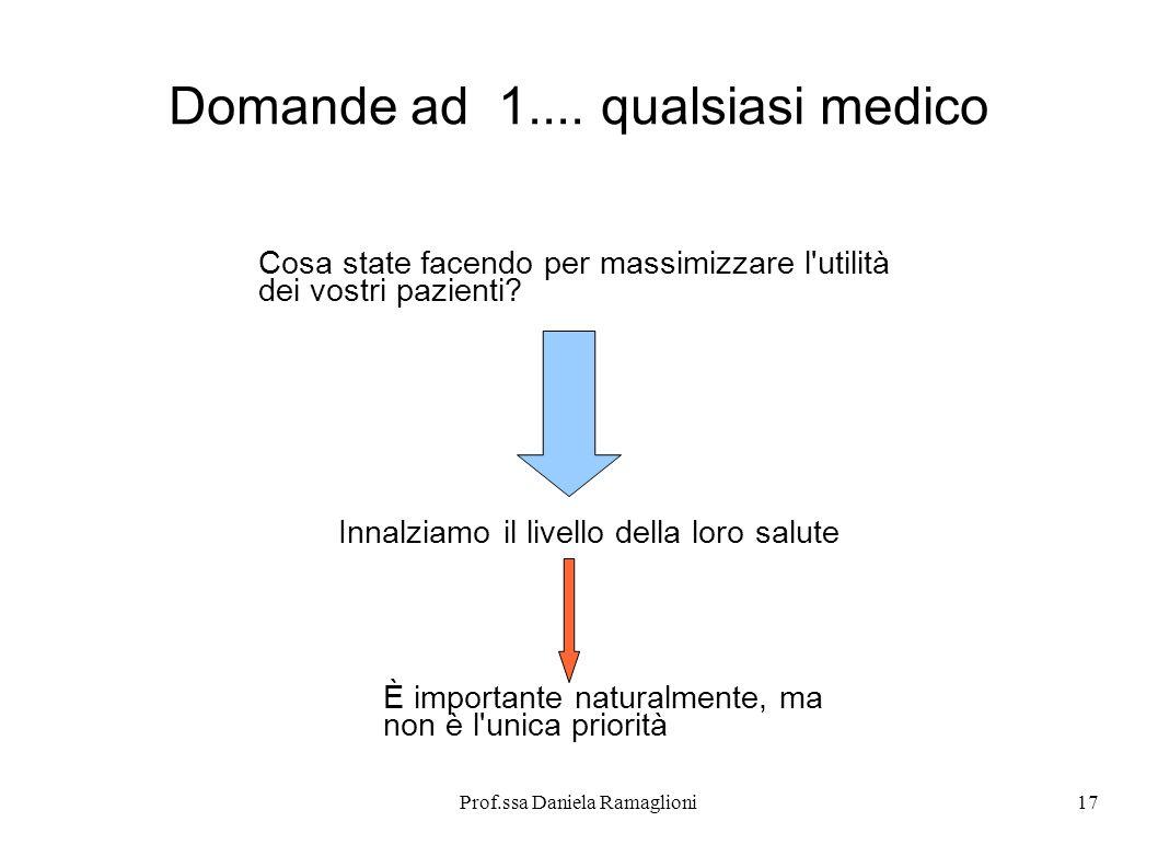 Prof.ssa Daniela Ramaglioni17 Domande ad 1.... qualsiasi medico Cosa state facendo per massimizzare l'utilità dei vostri pazienti? Innalziamo il livel