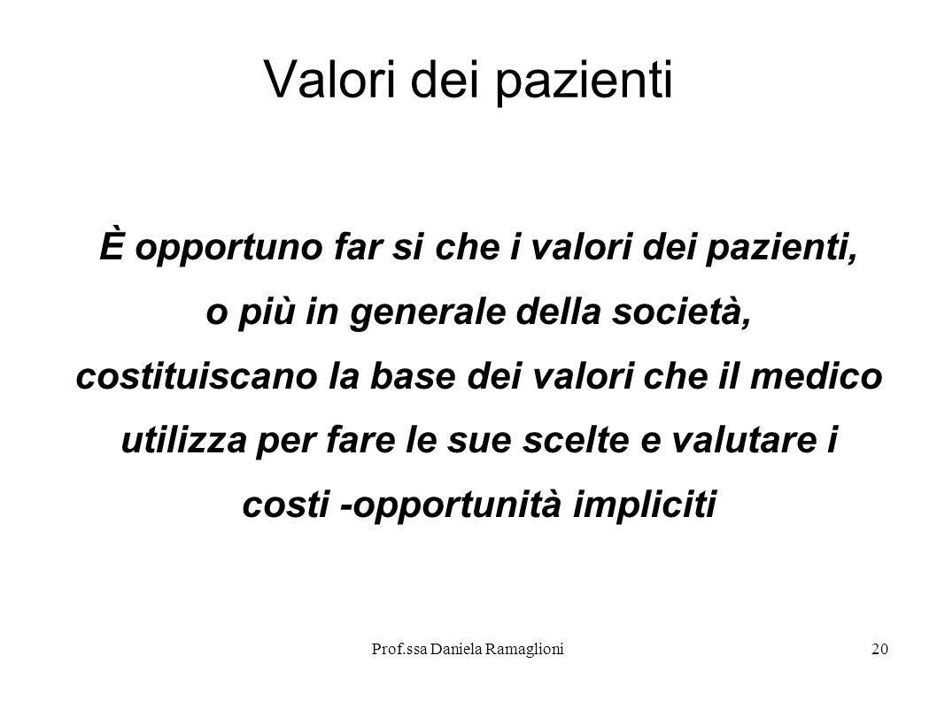 Prof.ssa Daniela Ramaglioni20 Valori dei pazienti È opportuno far si che i valori dei pazienti, o più in generale della società, costituiscano la base