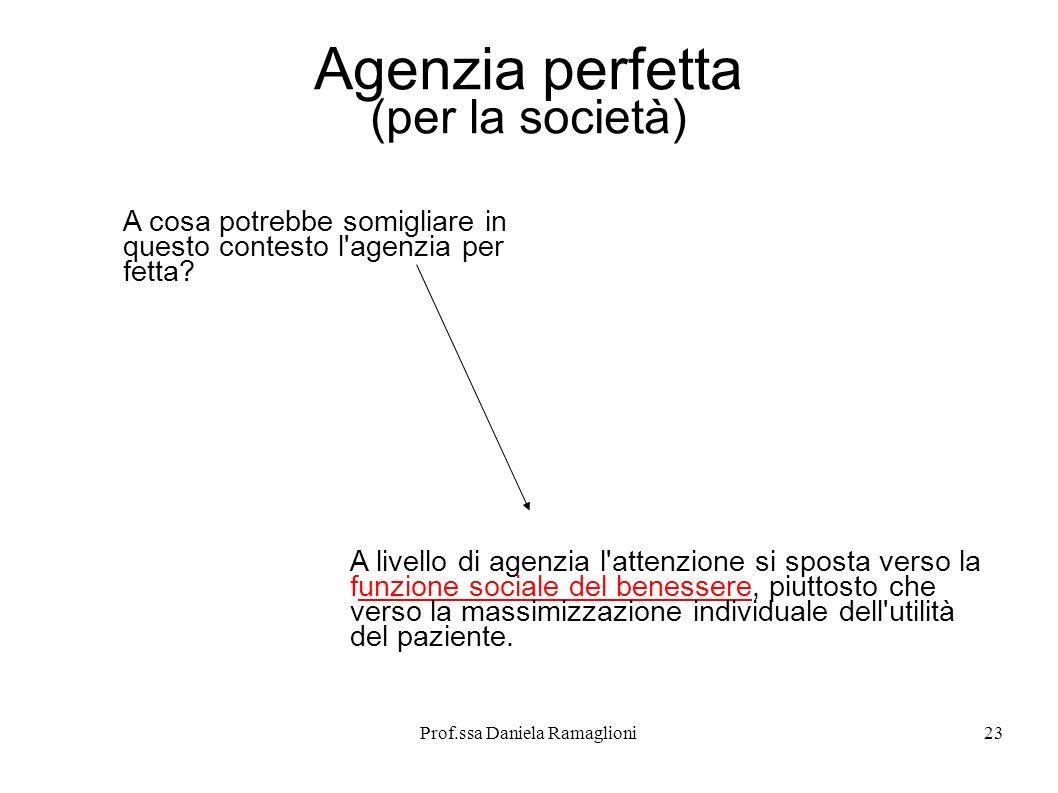 Prof.ssa Daniela Ramaglioni23 Agenzia perfetta (per la società) A cosa potrebbe somigliare in questo contesto l'agenzia per fetta? A livello di agenzi